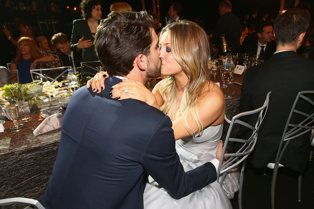 Newlyweds Kaley Cuoco and Ryan Sweeting shared some PDA inside the SAG Awards.