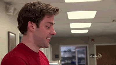 Then, during the company picnic, Jim finds out that Pam's pregnant and he can't hold back the tears.