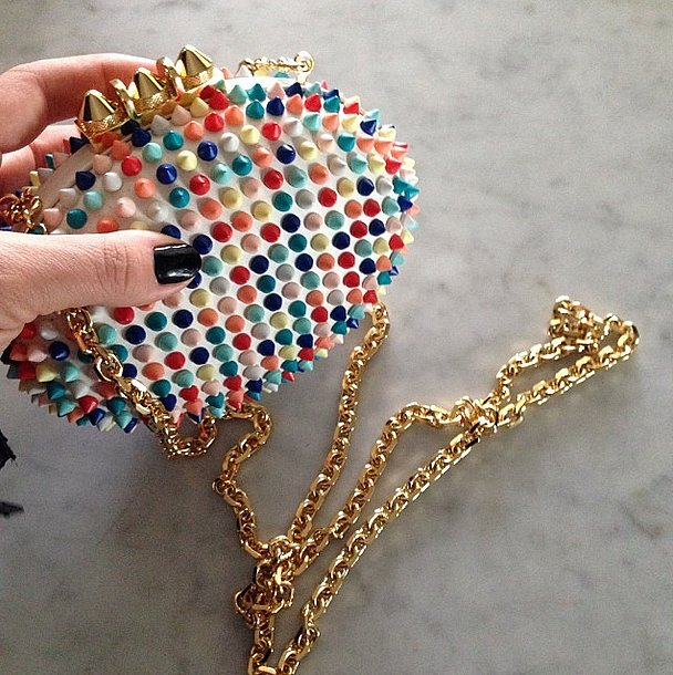 We could only think of candy dots when we saw Busy Philipps's bright Christian Louboutin clutch. Source: Instagram user busyphilipps
