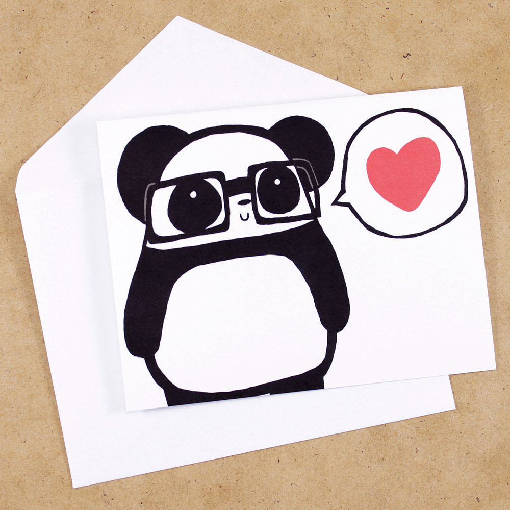 Pandas in glasses ($4) have nothing but love for you.