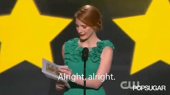 Jessica Chastain Presents Matthew McConaughey's Critics' Choice Win in the Best Way
