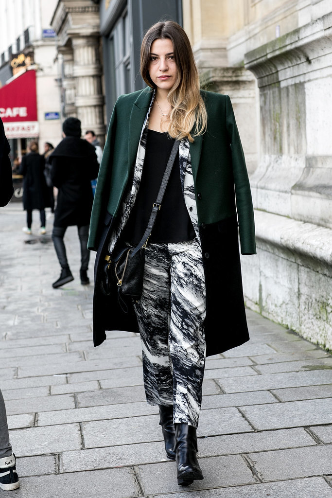 Break up a head-to-toe print with a black tee and great outerwear.