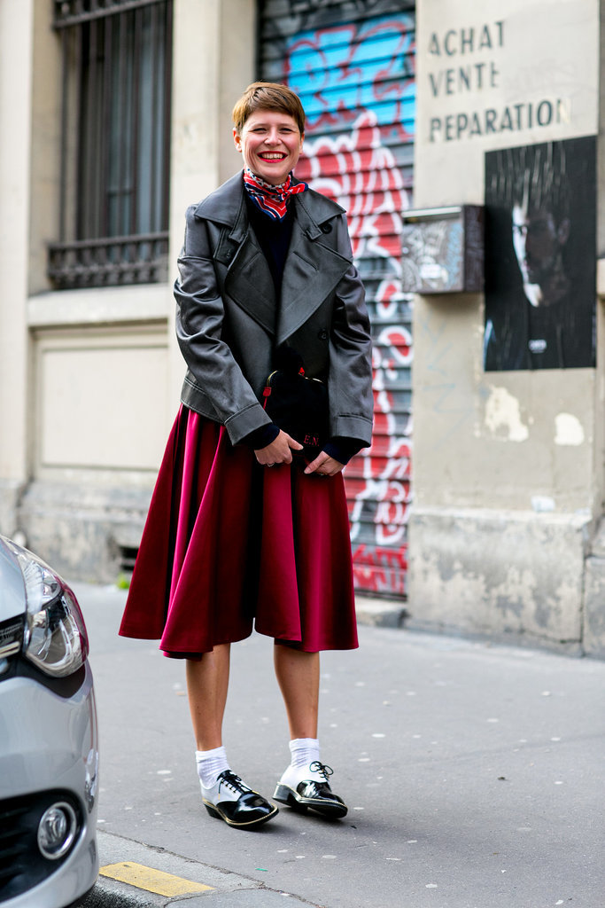 Elisa Nalin did schoolgirl cool in leather and a full skirt.