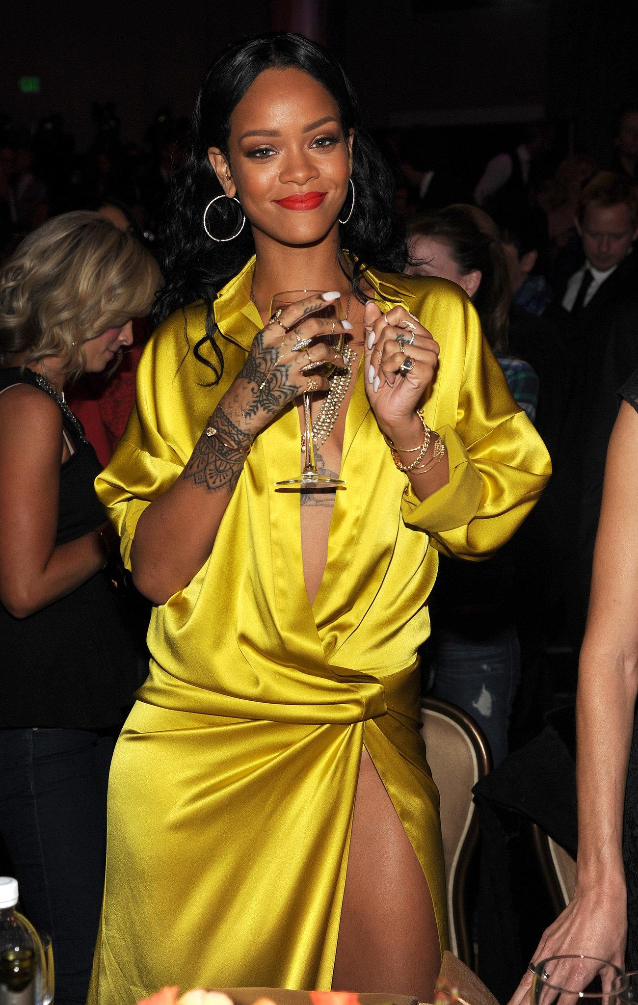 Rihanna had a big grin at the party.