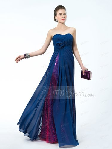 $ 97.59 Unique Design Sequins Flower Sweetheart A-Line Empire WaistlinePromDress