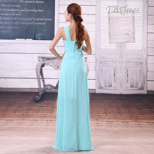 $ 88.19 Beautiful Ruched Column One-Shoulder Long Prom Dress