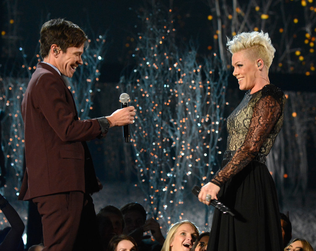 Pink and Nate Ruess smiled while performing their duet ...