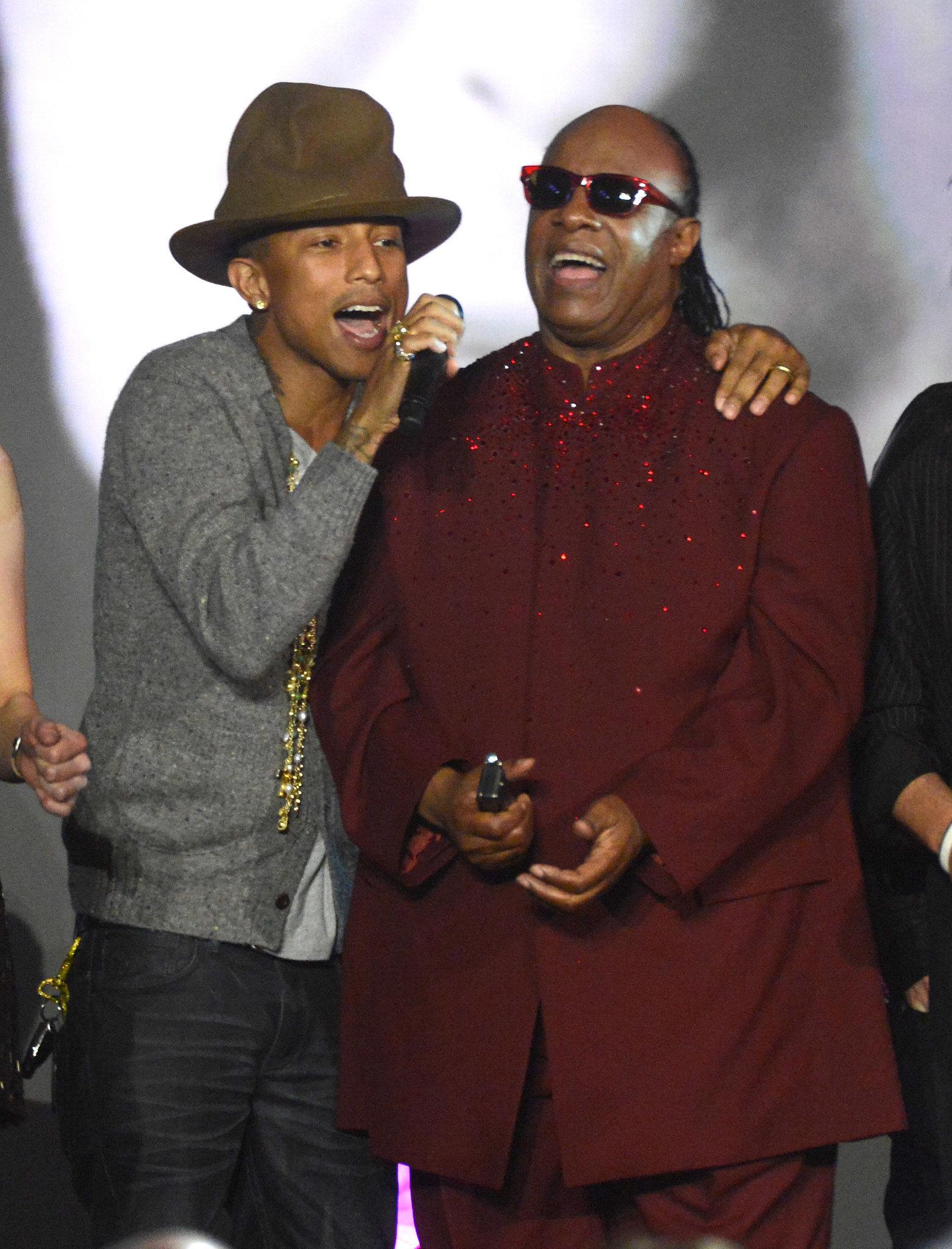 Pharrell also sang with Stevie Wonder.