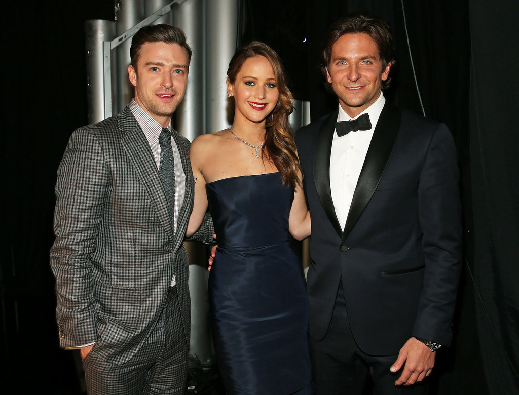 Justin posed for a photo with Jennifer Lawrence and Bradley Cooper backstage at the SAG Awards in January 2013.