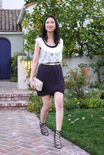 Lace Top with a Twisted Skirt