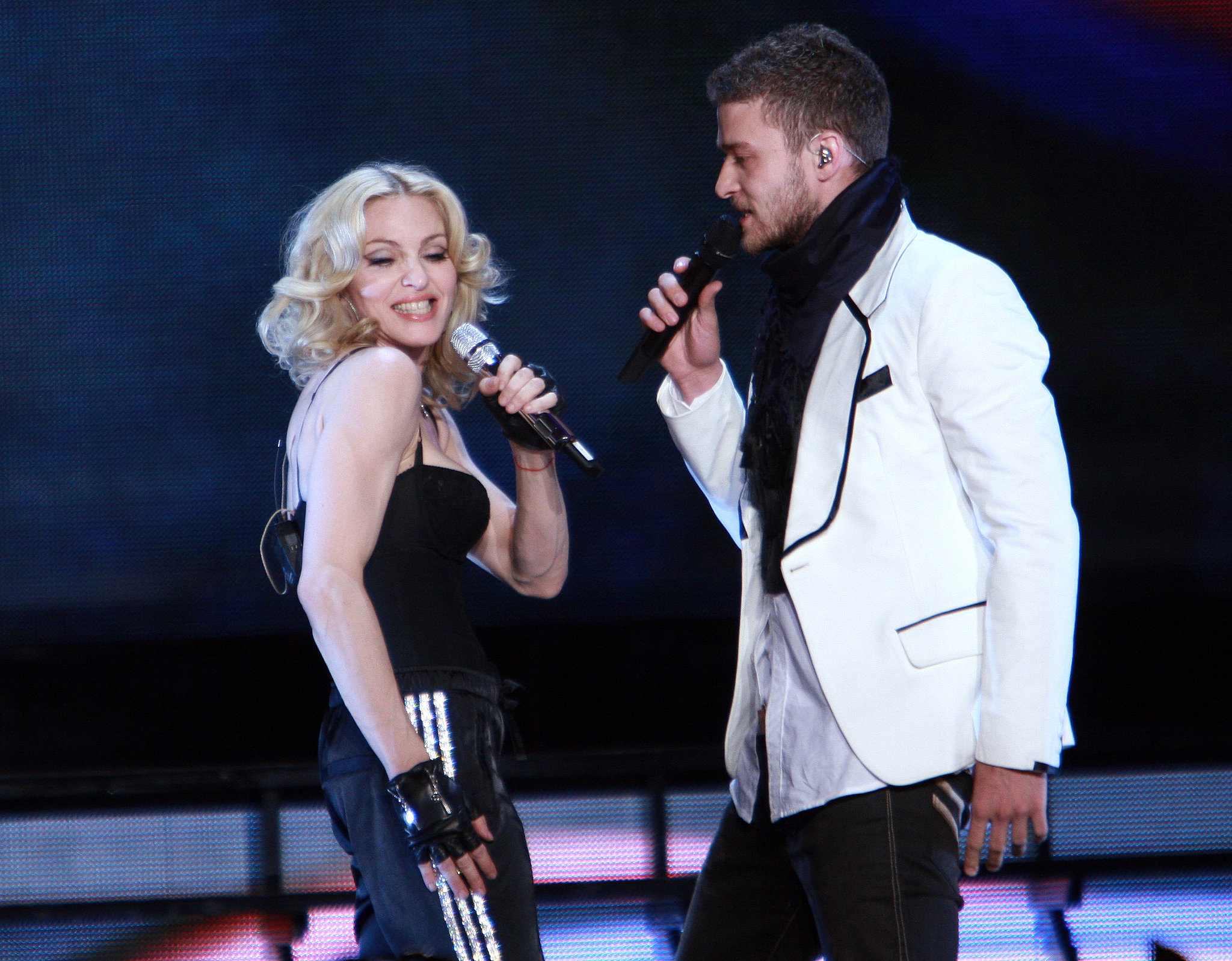 """Madonna and Justin performed """"Four Minutes"""" in NYC during her April 2008 Hard Candy tour."""