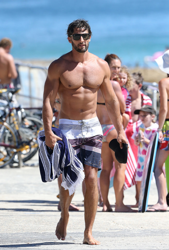 The Bachelor star Tim Robards showed off his physique at Bondi Beach in December 2013.