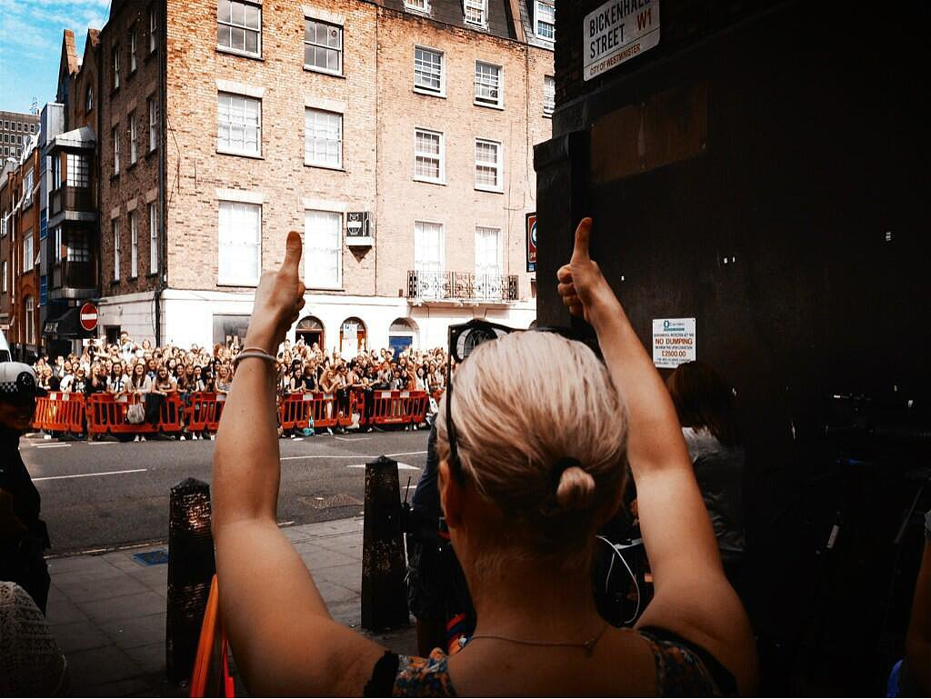 "Amanda Abbington, who plays Mary Morstan, John Watson's wife, thanked the crowd who turned out to glimpse a view of Sherlock season three filming: ""And that's a wrap . . . "" Source: Twitter user CHIMPSINSOCKS"