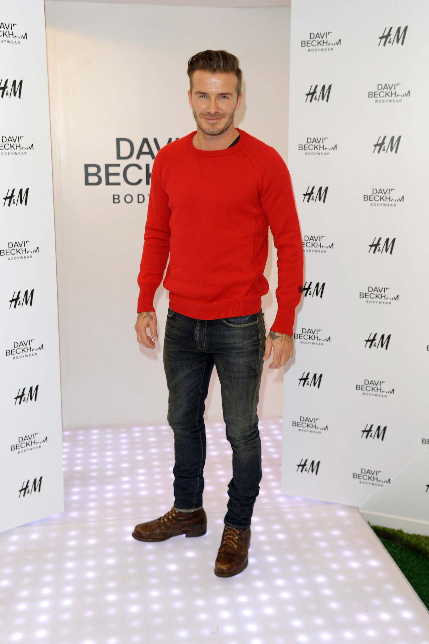 David Beckham at his H&M bodywear launch.