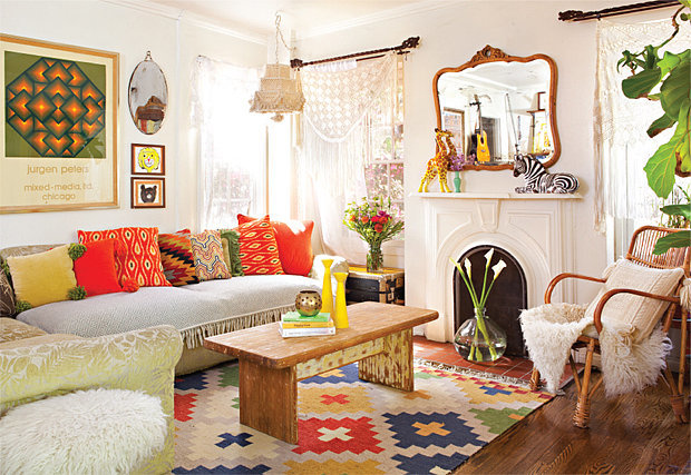 PS: Between all the colors, patterns, and textures, it can be hard to make a bohemian space look cohesive. How do you pull everything together? JB: I think that paying attention to an overarching color palette helps with cohesion. In my living room, I use a lot of different colors, but the overall vibe is very orange. If you pay attention to the colors that you add and make sure they are within the same color family, you'll start to see that everything works well together.  Source: Bret Gum