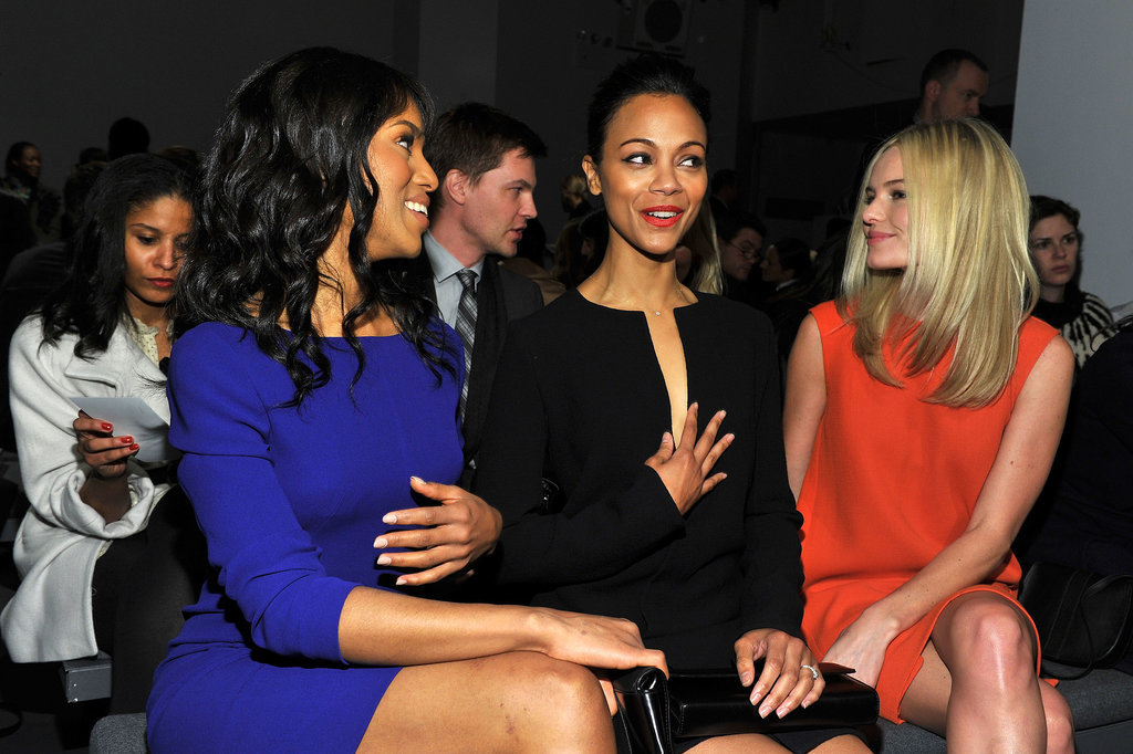 Kerry Washington, Zoe Saldana, and Kate Bosworth chatted at Calvin Klein in February 2011.