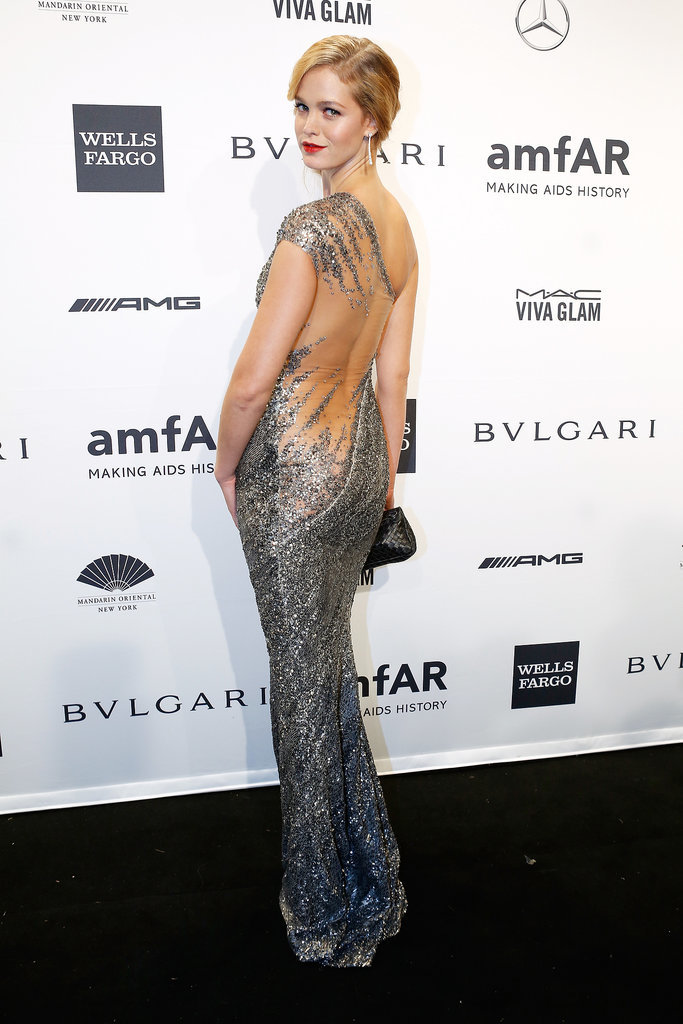 Erin Heatherton, wearing Kaufman Franco, at amfAR's New York Gala.