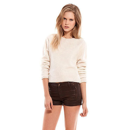 Image of [grzxy6601060]Beige Cozy Loose Fit Crewneck Short Shirt Pullover Top