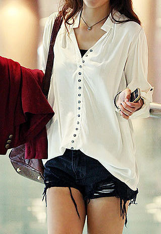 Image of  [grzxy6601045]Fashio Office Lady Loose Fit White Shirt Blouse Tops