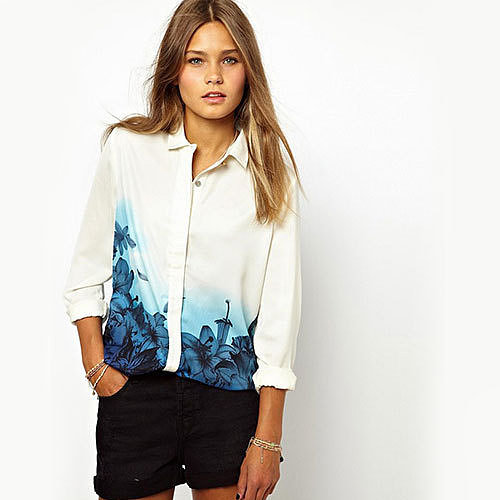 Image of [grxjy560850]Blue Flowers Print White Button Down Shirt Blouse Tops