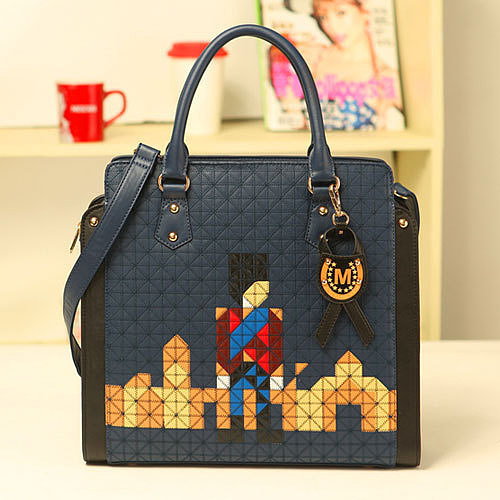 Image of [grzxy62000217]Pendant Quilted British Knight Pattern Blue Messenger Shoulder Bag Handbag
