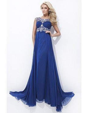 Open Back Scoop Off The Shoulder Royal Blue Brilliant Prom Dress