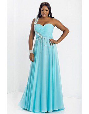 Prom Dress Plus Size A Line One Shoulder Floor Length Chiffon Aqua
