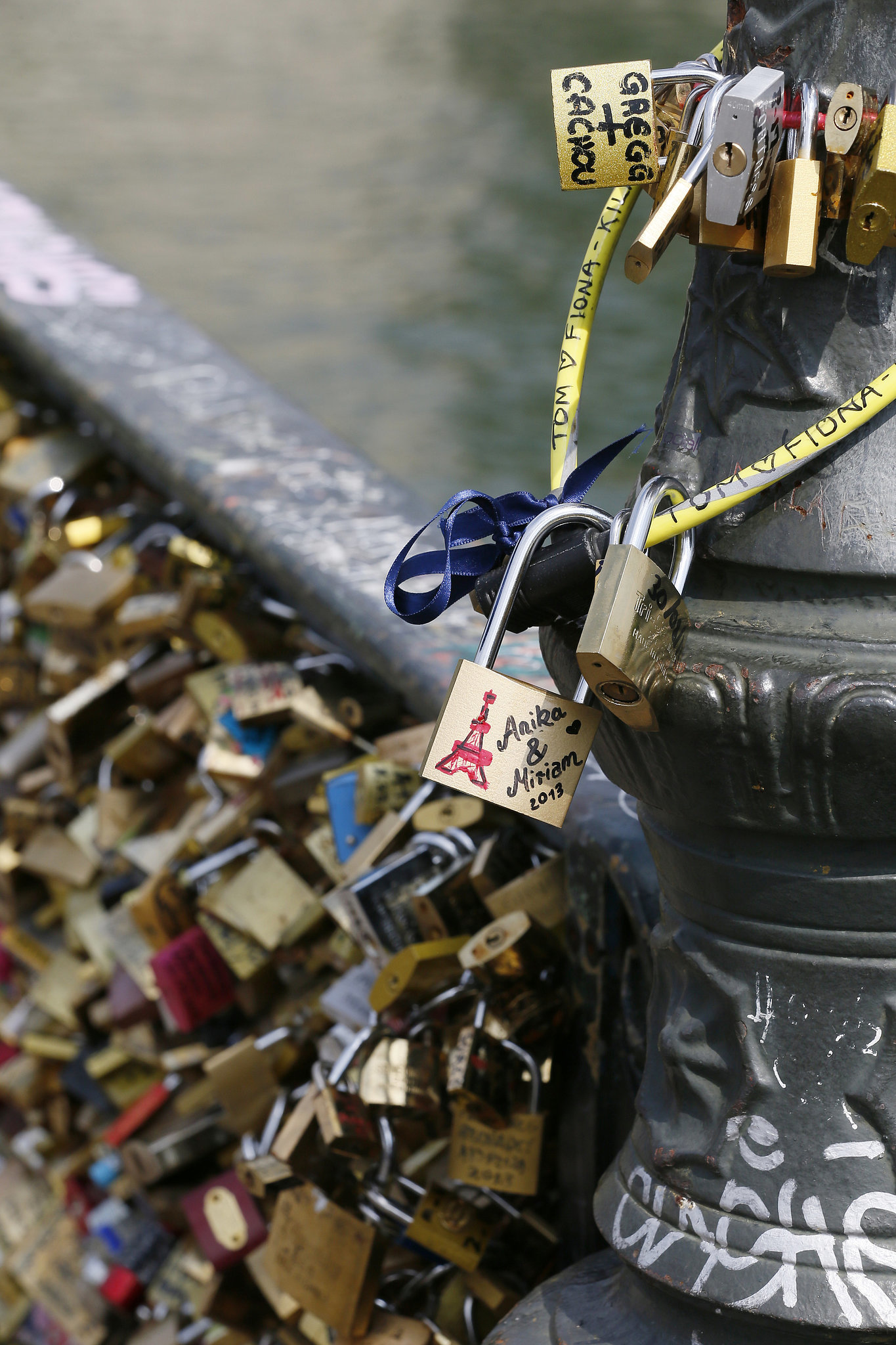 Love padlocks covered the Pont des Arts bridge in Paris.