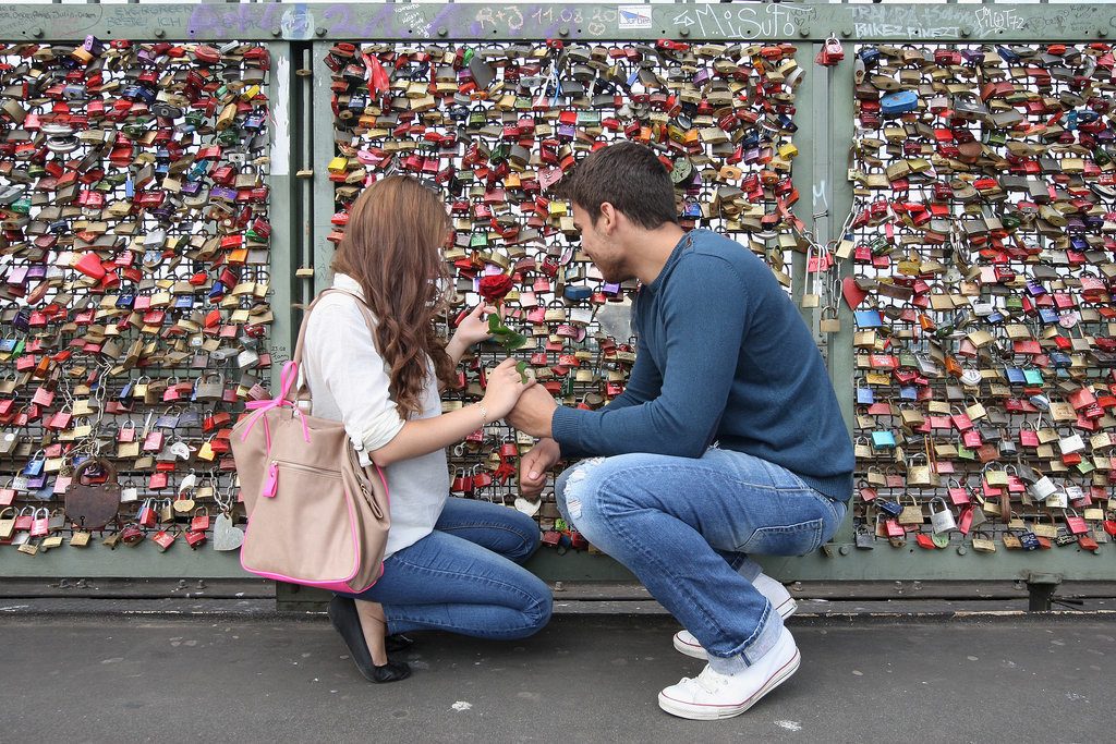 A couple attached their love lock to the Hohenzollern Bridge in Cologne, Germany.
