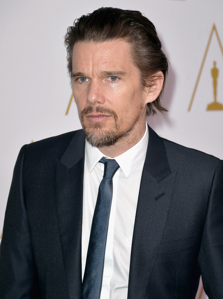 Ethan Hawke attended the luncheon in a suit and skinny tie.
