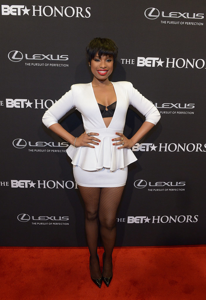 Jennifer Hudson bared her bra again in a sexy peplum mini at the BET honors.