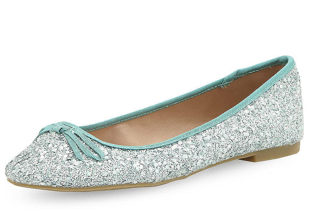 Dorothy Perkins mint green glitter ballet flats ($29)