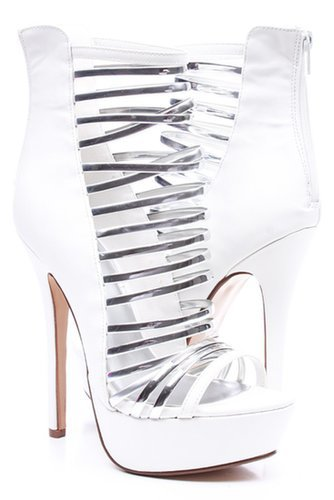 WHITE FAUX LEATHER SILVER STRAP PEEP TOE PLATFORM HEELS