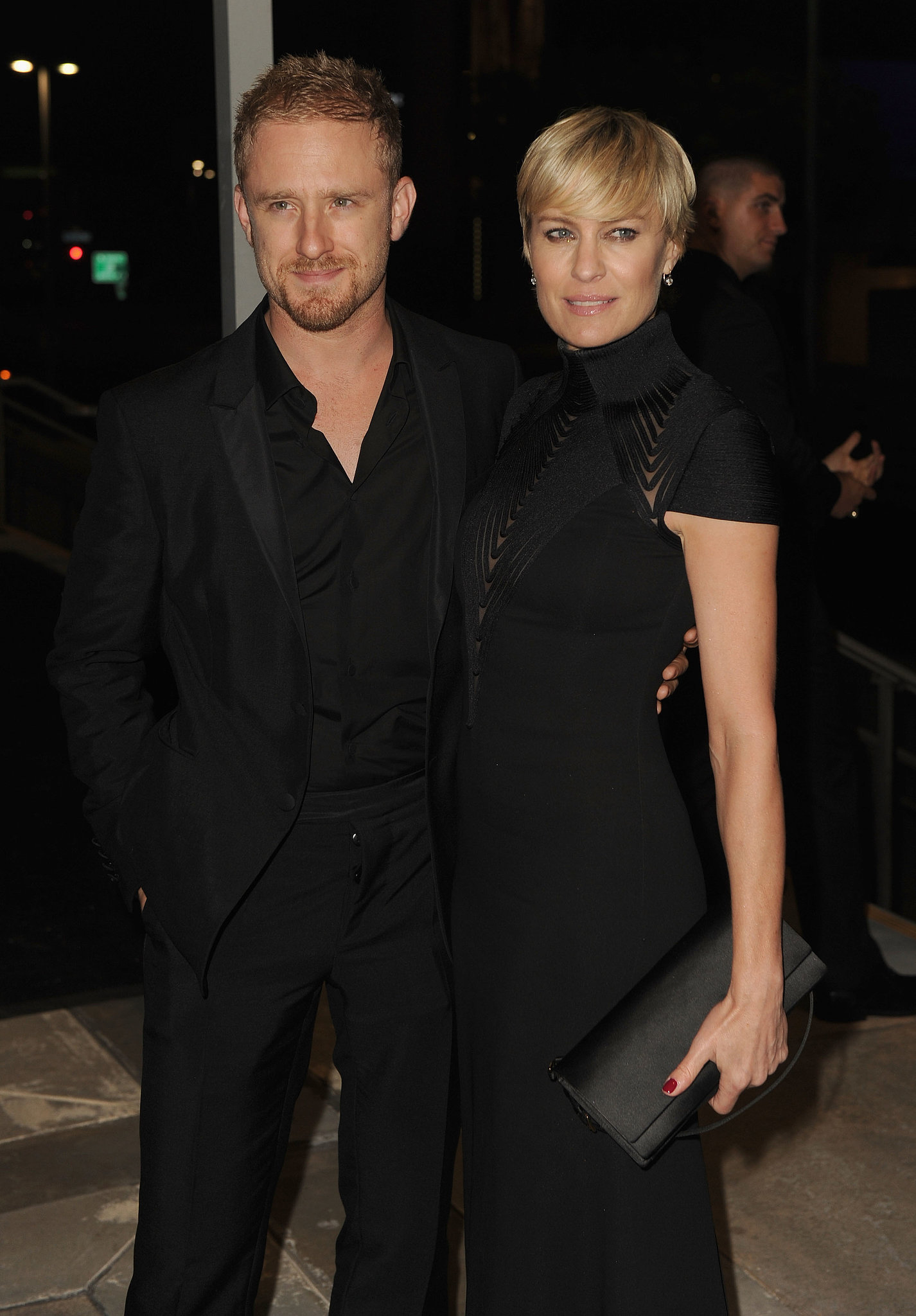 """On her relationship with 33-year-old actor Ben Foster: """"Ben and I have a connection between us that just feels right. I don't know any other word for it. It's surreal. [The proposal was] such a shock. But we felt married anyway. We've been together ever since the first date."""" On their first date at a poetry recital: """"I'd never, ever been asked out on a date before. Never. I was frickin' married my whole life, and even before that I hadn't been asked out."""" On the couple's matching tattoos (Robin has a small letter """"B"""" on the third finger of her left hand: """"Ben has an 'R' tattoo in the same place. I've been so antitattoos my whole life. But doing this felt right because we're not that traditional."""""""