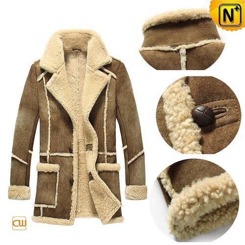 Leather Sheepskin Coat for Men CW878127