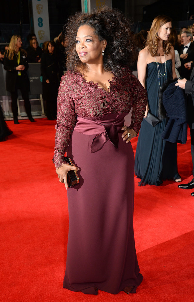 Oprah Winfrey on the 2014 BAFTA Red Carpet