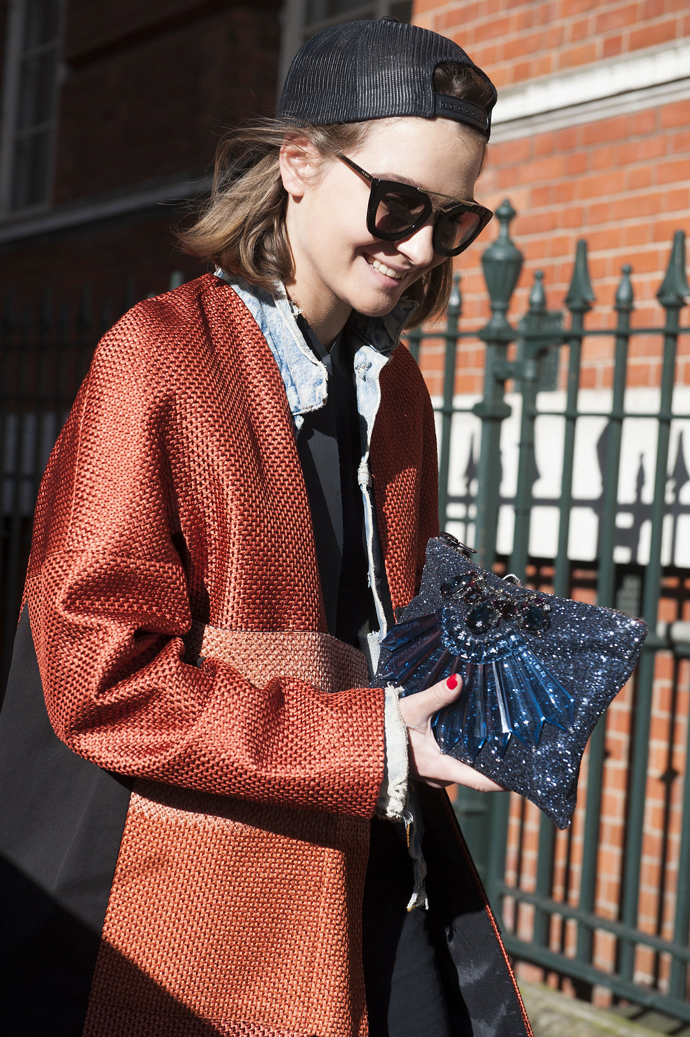 An all-star mix of add-ons, from the cap to the beaded clutch.