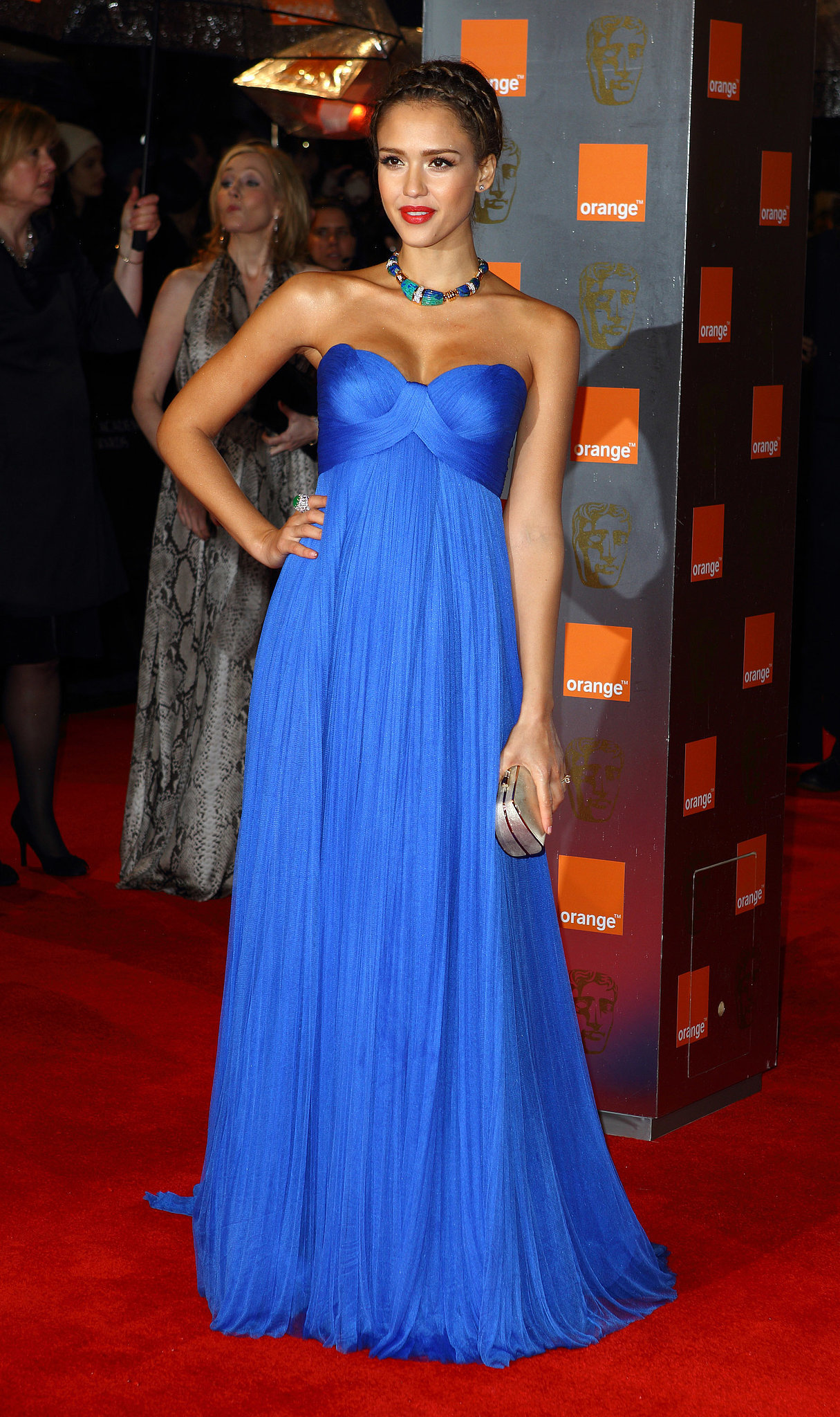 Jessica Alba in Versace at the British Academy Film Awards