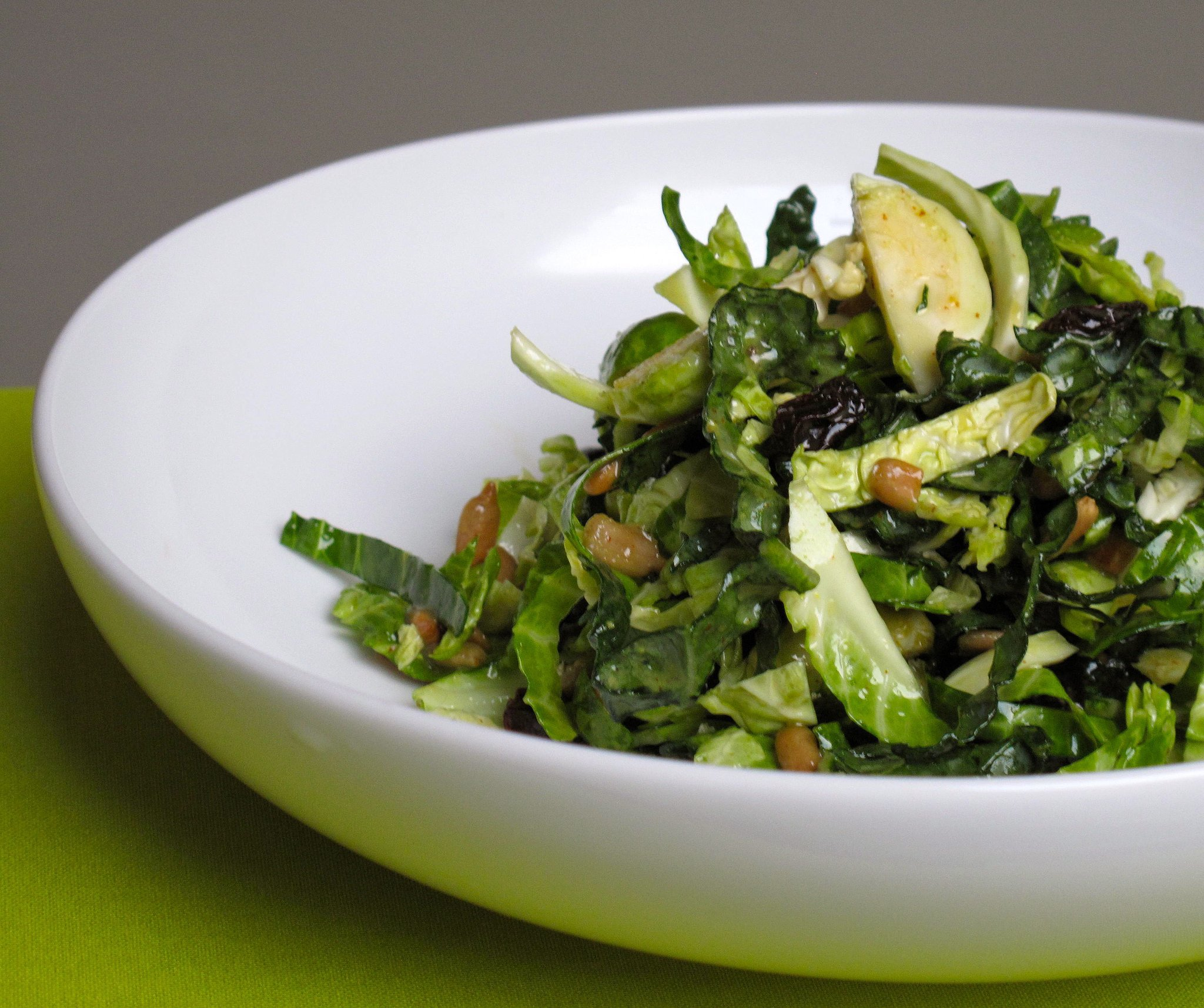 Shredded Brussels Sprouts and Kale With Sunflower Seeds