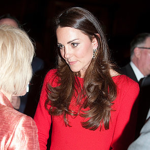 Kate Middleton in Red Dress With Queen at Buckingham Palace