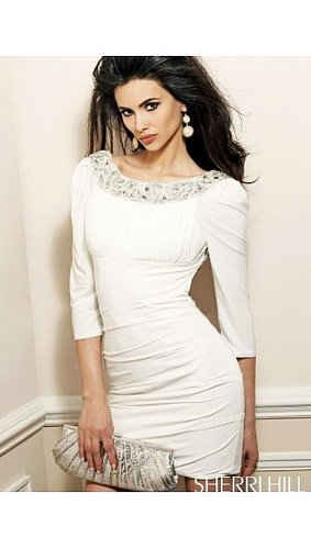 2014 Sherri Hill 1522 Open Back Wrap Short Dress White