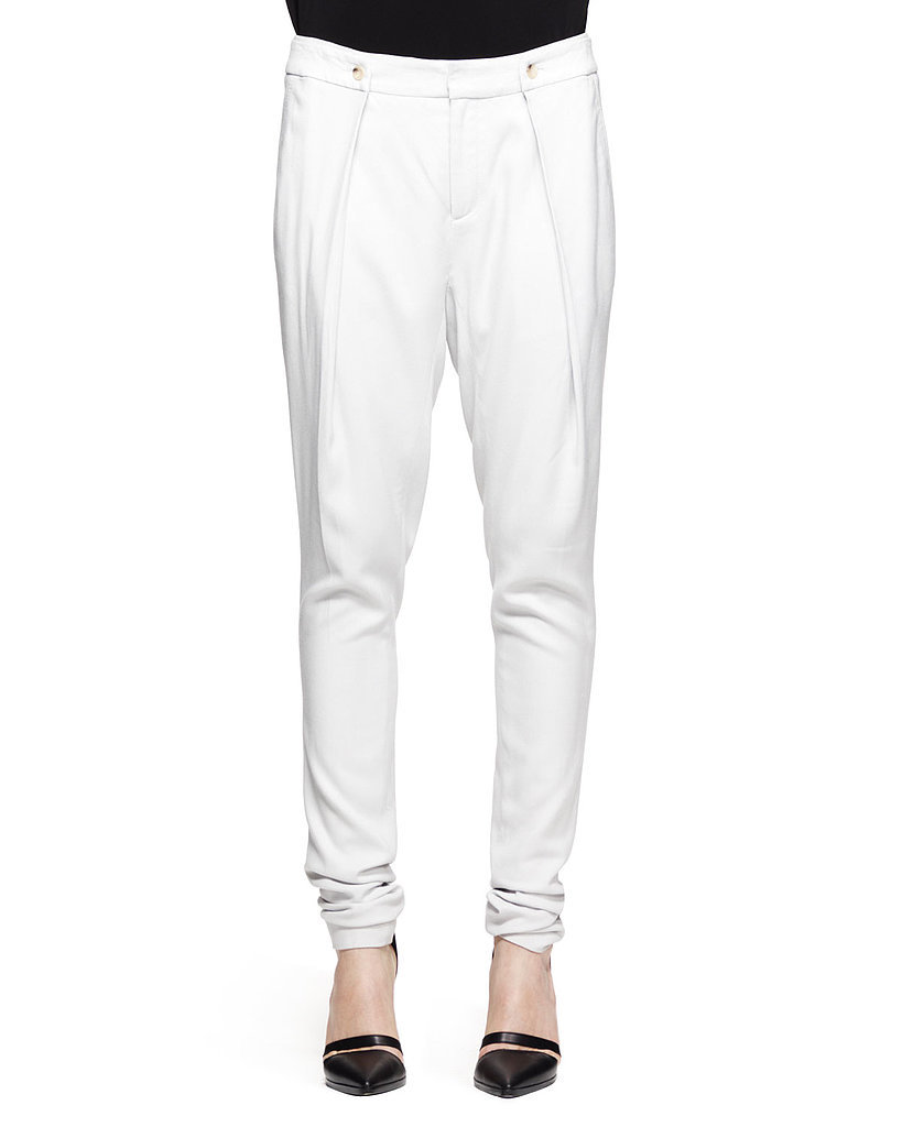 Helmut Lang Ark Pleated White Suiting Pants ($360)