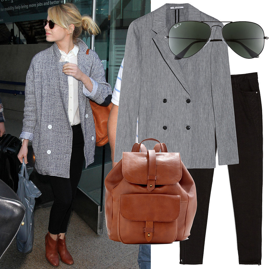 Emma Stone Airport Outfit With Madewell Leather Backpack