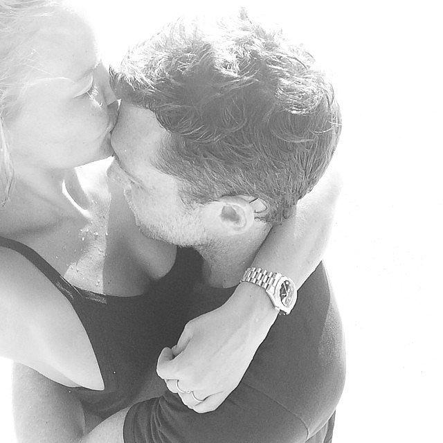 "Lara Bingle shared this sexy shot of herself with Sam Worthington, captioning the photo, ""My Heart. His Heart,"" in Feb. 2014. Source: Instagram user mslbingle"