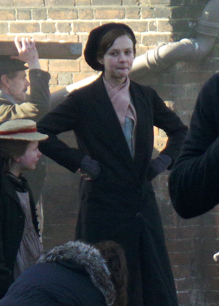 On Sunday, Carey Mulligan got into character to film Suffragette in London.