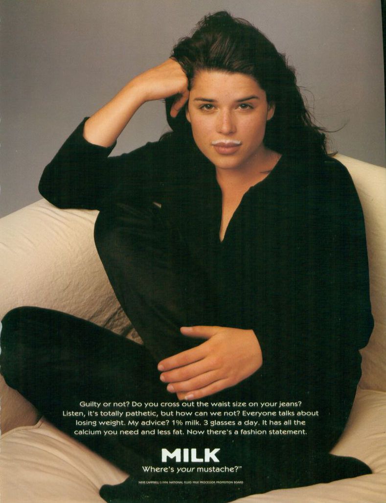 Party of Five's Neve Campbell went black-on-black for a simple ad.
