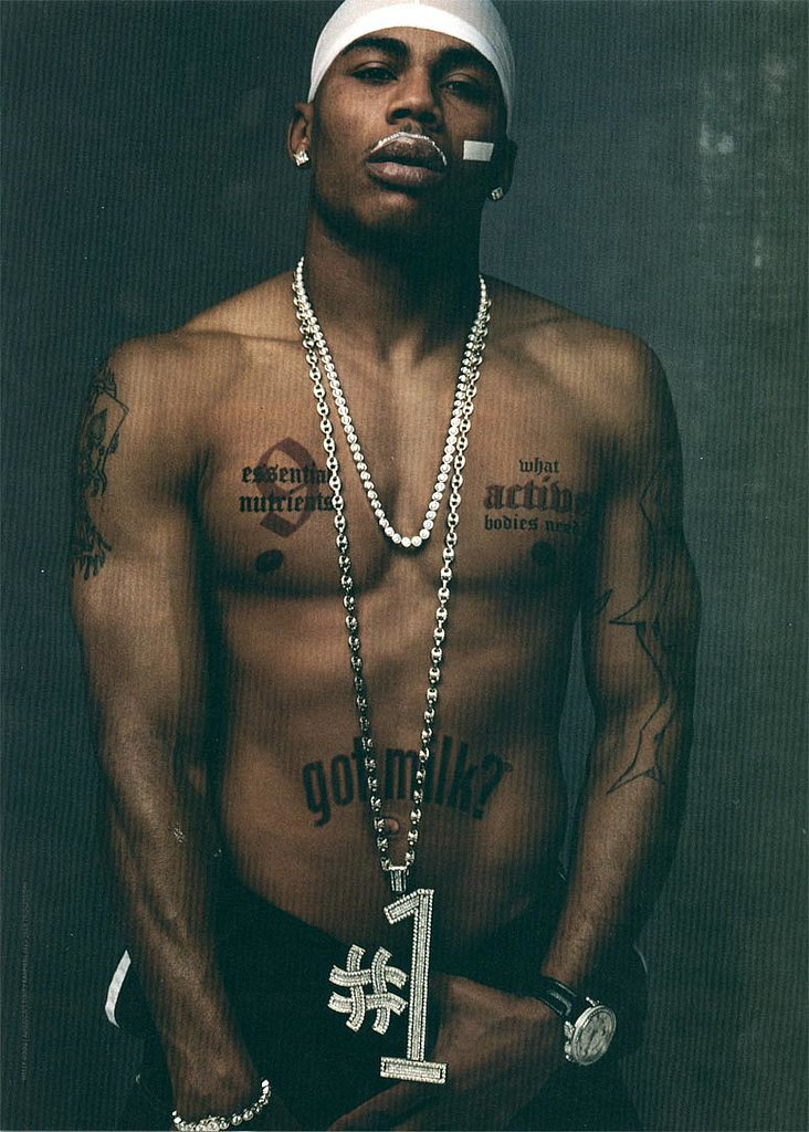 "Nelly stripped down and sported a faux ""Got Milk?"" tattoo for his ad."