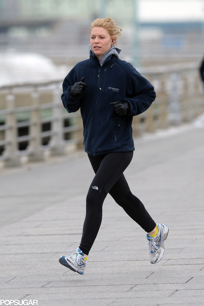 Claire Danes went for a jog along the Hudson River in NYC on Monday.