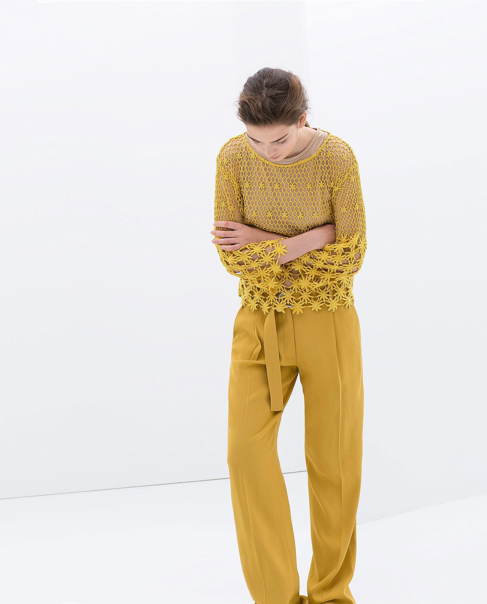 Zara Yellow Embroidered Cotton Blouse ($80)