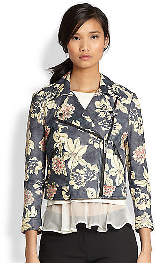 Elizabeth and James Floral-Print Leather Jacket